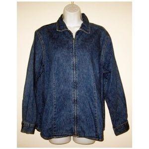 Oversized Vintage Denim Zip Jacket M L